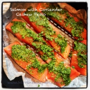 Salmon with Coriander Cashew Pesto